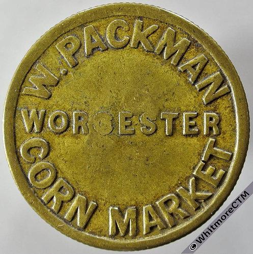 Market Token Worcester 29mm W.Packman - Corn Market. Countermarked S J - Brass
