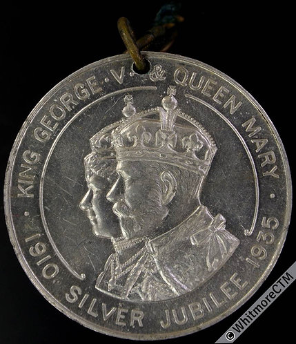 1935 Stafford Silver Jubilee Medal 38mm WE5706F Alum with ring & ribbon