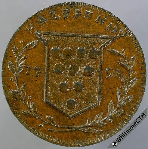 18th Century Halfpenny Kidderminster 23 1791 Santer. Woolpack / Shield.