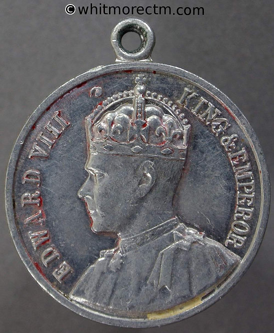 1937 Intended Coronation Edward VIII Medal obv 26mm Antique ship with crown on sail
