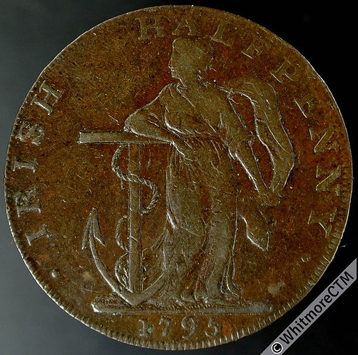 18th Century Halfpenny Dublin 9 1795 Hope / Arms & Crest of United States