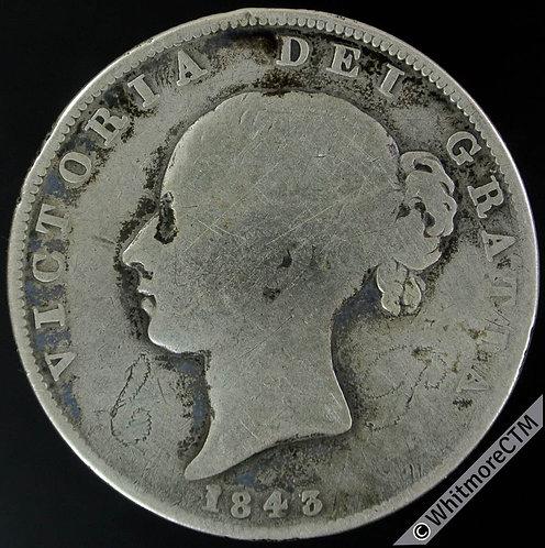 1843 Half-Crown Victoria Young Head - Rare.  Initials in Obv. Field.