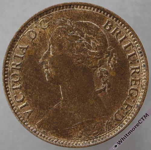 1888 British Bronze Farthing Victoria Bun Head. 50% Luster