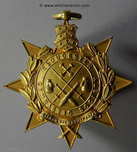 Gloucester Gymnastic Society Medal 42mm Boxing gloves, sword etc gilt bronze