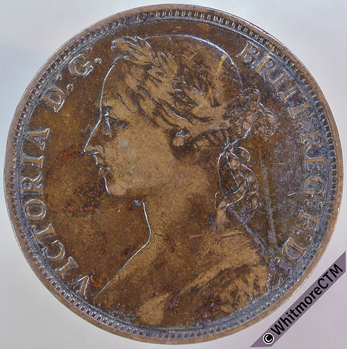 1892 British Bronze Penny - Victoria Bun Head
