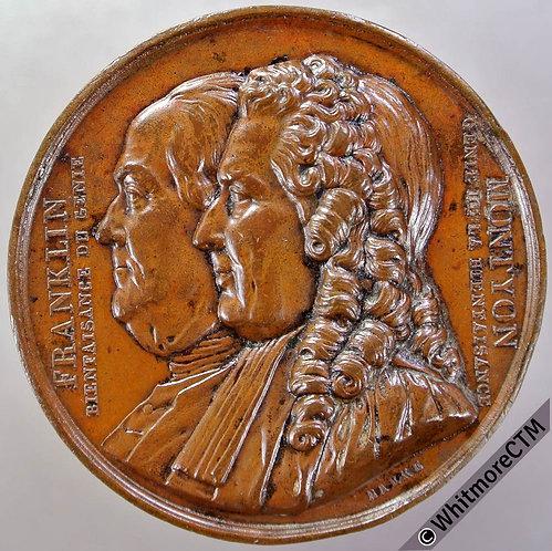 1833 France / USA Ben Franklin & Antoine Montyon Medal 41mm By Barre. Bronze