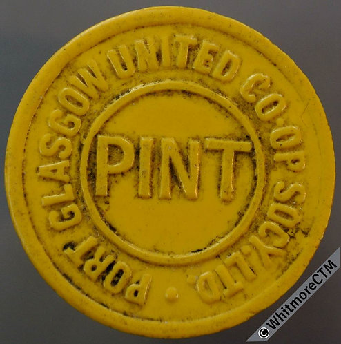 Co-Operative Society Token Port Glasgow United 25mm Pint. Yellow Plastic