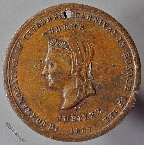 1887 Australia Fitzroy - Victoria Jubilee Medallion 31mm Children's Carnival obv