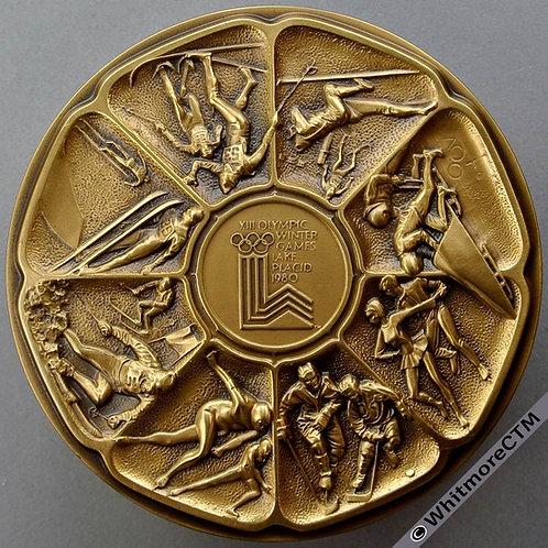 Calendar Medallion 1980 USA Lake Placid Winter Olympics 76mm Gilt Bronze - Boxed
