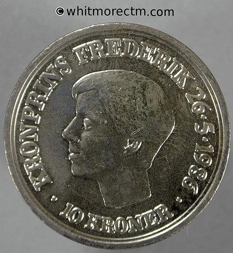1986 Denmark K865 10 Kroner coin Crown Prince 18th Birthday