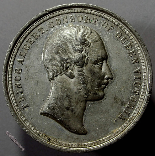 1851 Prince Albert - Crystal Palace Medal 52mm By Allen & Moore. White metal