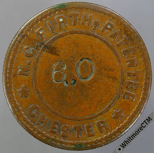 Chester Misc Token 25mm BA344 N.C.Firth Patentee. Stamped No. Bronze