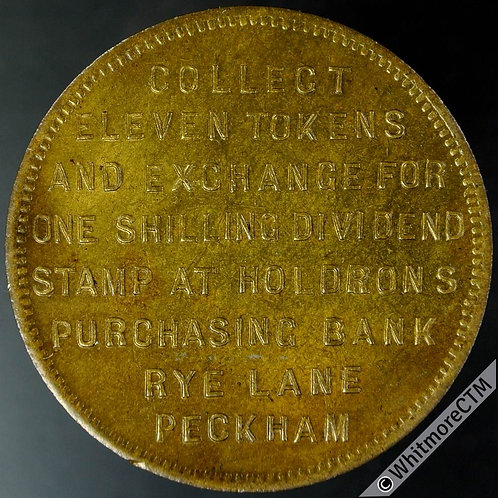 Bonus Token Peckham 35mm Holdrons Purchasing Bank. Same both sides. Gilt bronze
