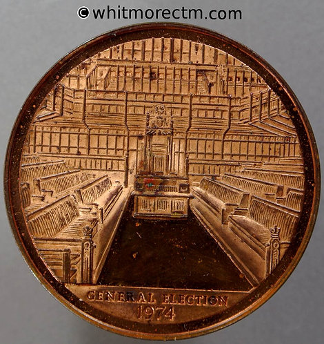 1974 General Election Medal 45mm View of House of Commons and Results - Bronze