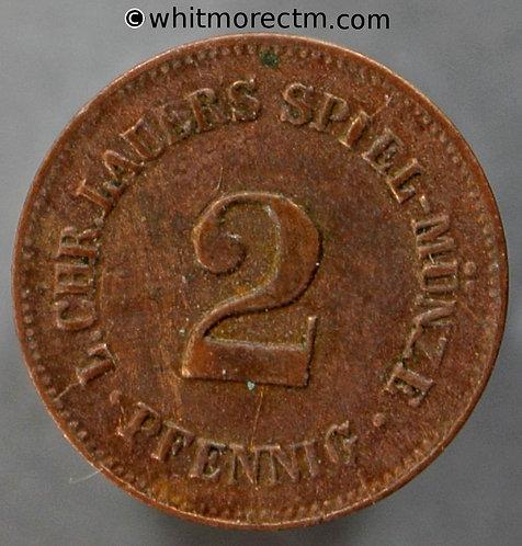 Toy Coin Germany 2 Pfennig as Y2. Spiel-munze. By Lauer 13mm Copper