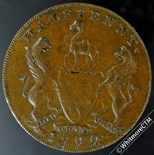 18th Century Halfpenny Manchester 127a 1792 East India House / Grocers Arms