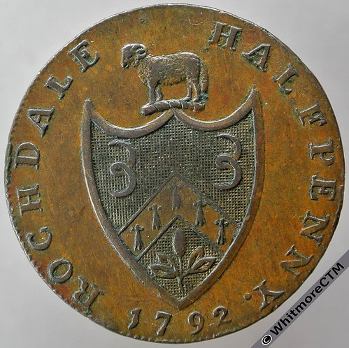18th Century Halfpenny Rochdale 145 1792 Arms / Man in loom. Kershaw's edge