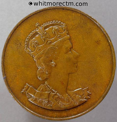 1953 Coronation of Queen Elizabeth II Medal obv 37mm B4443 - Bronze