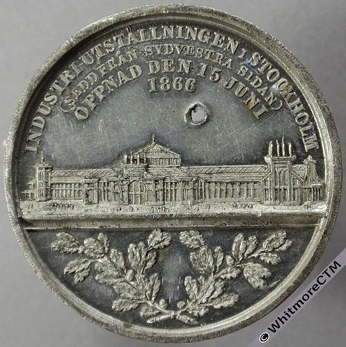 1866 Sweden Stockholm Exhibitions Medal 36mm View of buildings - White Metal