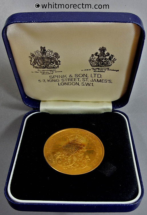 1980 Queen Mother 80th Birthday Medal in case 38mm By L Durbin for Spink. Case bronze
