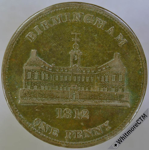 19th Century Penny Birmingham 398 1812 View of Workhouse / Shield. Value etc.