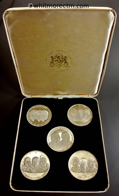 1969 Set of Five Manned Space Flight Cased Medals 40mm Britannia silver. Cased proofs