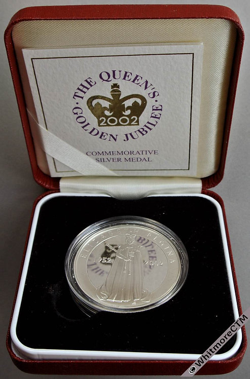 2002 Golden Jubilee Official Issue Elizabeth II Medal 39mm Silver proof Cased