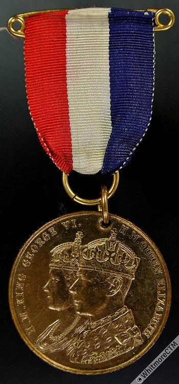 Beverley 1937 Coronation Medal 32mm WE7036G By Fattorini Gilt brass ribbon & pin