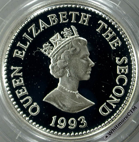1995 Alderney £1 obv Coronation AnniversarySilver Proof in capsule