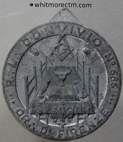 Italy Florence Masonic interest Medal 36mm Uniface Zinc