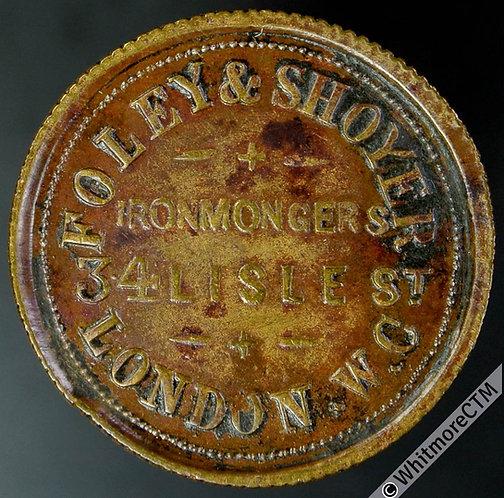 Unofficial Farthing London 2520 Foley & Shoyer. Ironmongers 34 Lisle St - Brass