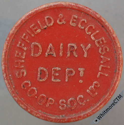Co-Operative Society Token Sheffield & Ecclesall 22mm 1 Pt. Dairy. Red Plastic