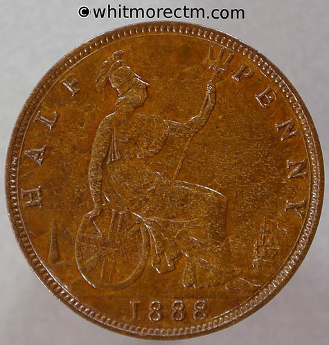 1888 British Bronze Halfpenny - Victoria Bun Head