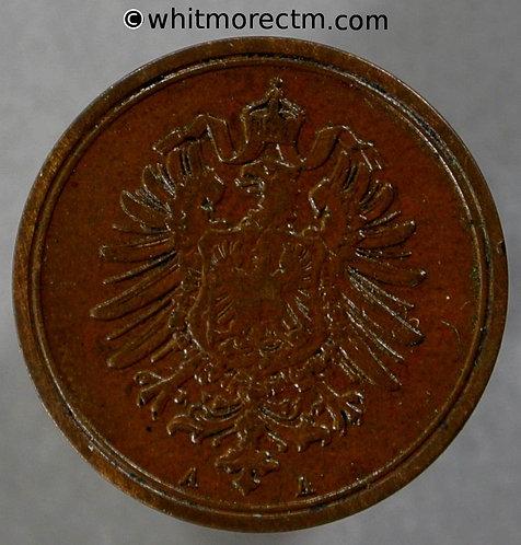 1889 Germany 1 Pfennig coin 1889A  Y1