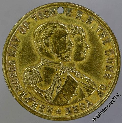 1893 Marriage of Duke of York & Princess Mary Medal 24mm B3451 Rare Brass