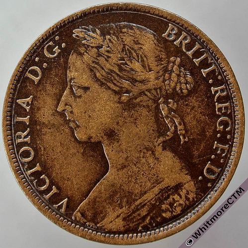 1886 British Bronze Penny Victoria Bun Head