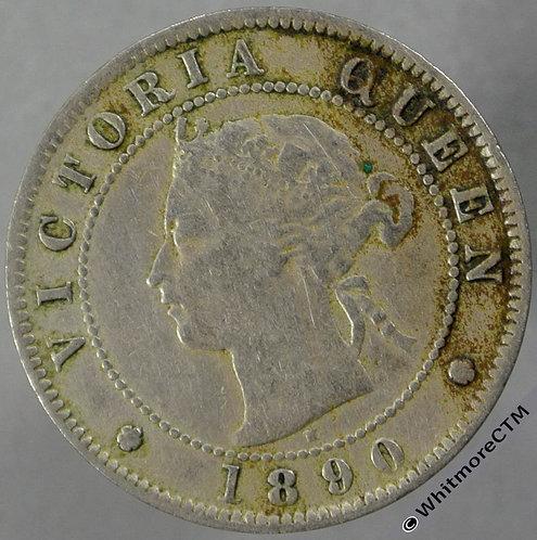 1890H Jamaica Halfpenny - Y2 Victoria Obv