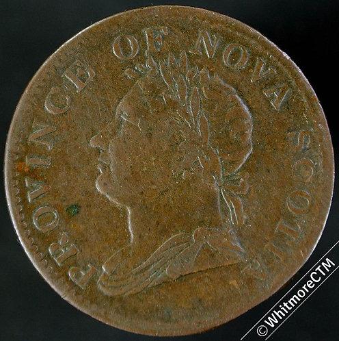 1832 Canada Nova Scotia Half Penny - George IV Equal Ribbon