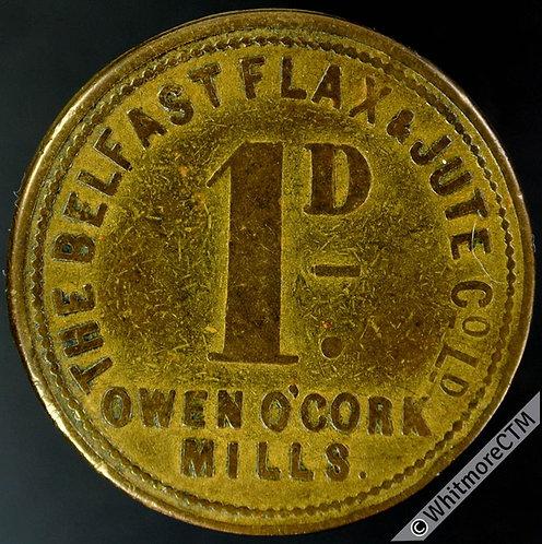 Value Stated Token Belfast 31mm Flax & Jute Co. Ltd Owen O'Cork Mills 1D - Brass