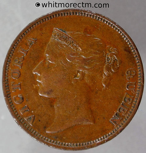 1845 Straits Settlements 1 Cent coin obv - Queen Victoria British Crown Colony
