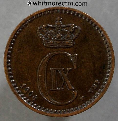 1904 Denmark 1 Ǿre coin
