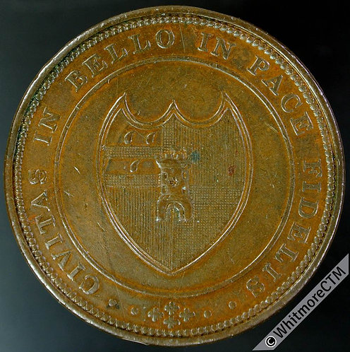 19th Century Penny Token Worcester 1254 1811 Arms of City / Value in wreath