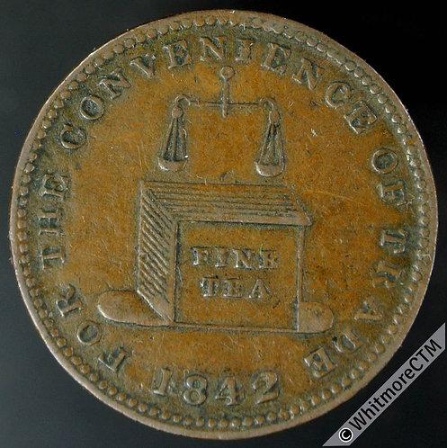 Unofficial Farthing Brierley Hill 1210 1842 W.Wheeler-Tea Dealer / Tea cherst