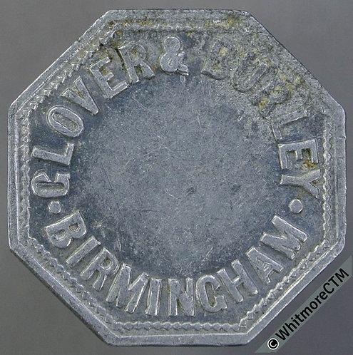 Market Token Birmingham 25mm W2850 4/- Glover & Burley - Octagonal aluminium