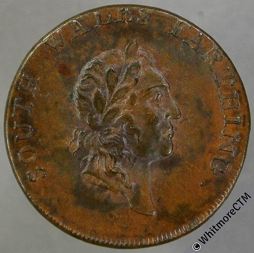 18th Century Farthing Token South Wales 27a 1793 Laur bust. Plain edge 20% Luste