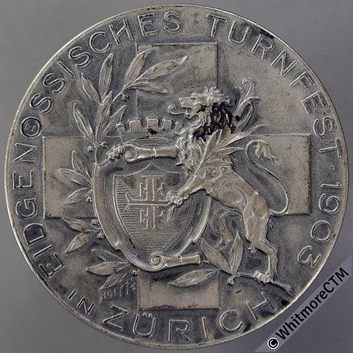 1903 Switzerland Eidgenössisches Turnfest in Zurich Medal 36mm Silvered bronze