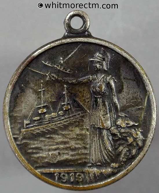 1919 WWI To commemorate Peace Medal 26mm Britannia lion with ship plane