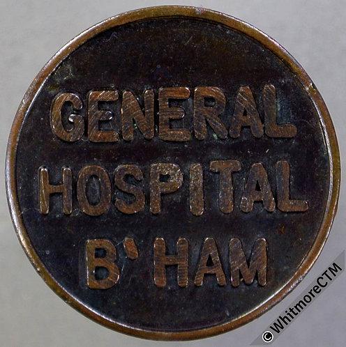 Birmingham Ticket Pass Token 20mm General Hospital B'ham. Same both sides Bronze