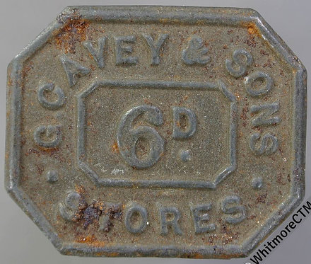 Value stated Token G. Cavey & Sons Stores 6D. Bracteate rectangular Iron