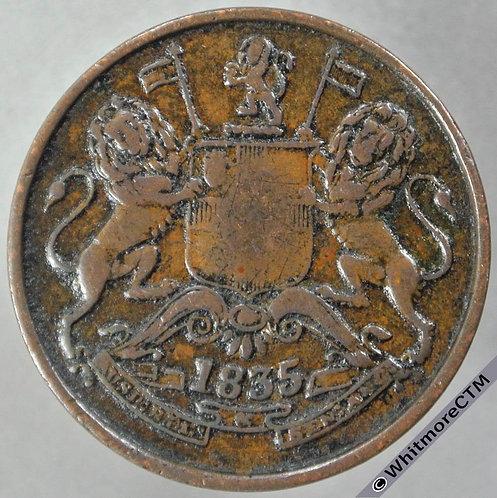1835M India Half Anna S&W 1.78 obv